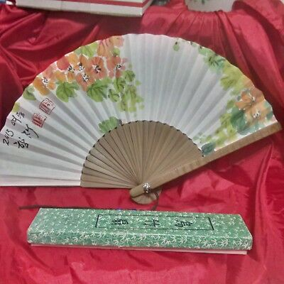 Folding ,Oriental Paper Fan,Hand Painted with tassel ,signed and dated !!