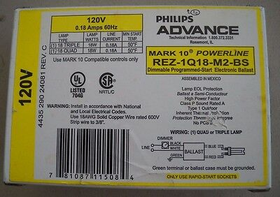 Philips Advance REZ-1Q18-M2-BS 120v electronic ballast for 1 18 watt, new other