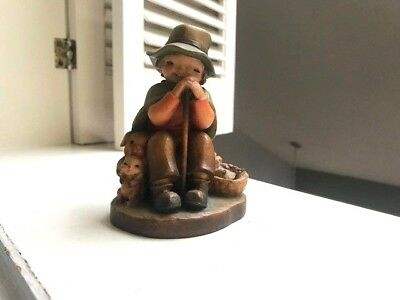 Anri Carved Wood Figurine Boy With Rabbits