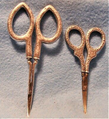 LOT 2 PAIRS ANTIQ. LATE 1800s VICTORIAN STERLING SILVER HANDLED SEWING SCISSORS