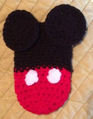 Crochet MICKEY MOUSE Baby Bottle Pop Beer Can Cozy Handmade NEW