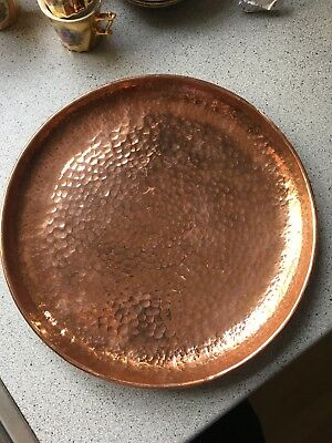vintage antique copper round plate serving drinks tray charger 29.5cm/11.5ins