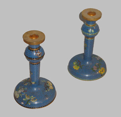 Pair of Antique Cloisonne Candlesticks Nice Form and Color