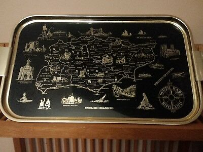 Vintage 1950s Woodmet Serving Tray English Channel South East England Landmarks