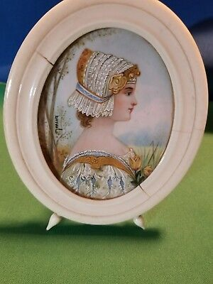 ANTIQUE Signed PAINTED PORTRAIT ON Celluloid? IVORY FRAME FOOTED