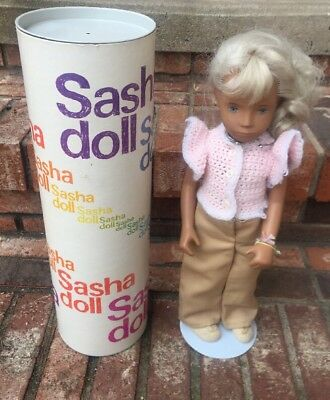 "Late 1970's SASHA 17"" Doll Marked On Back AND Neck Canister Lot J"