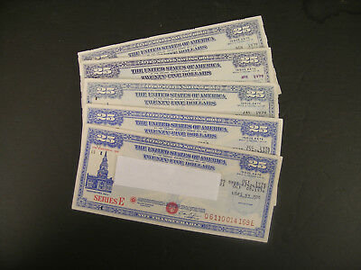 Set of 4-1979/76 $25 Savings Bond Series E United States USA Twenty Five Dollars