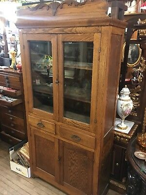 Primitive Antique Kitchen Oak Wood Pie Safe Jelly Cupboard Cabinet Glass Top