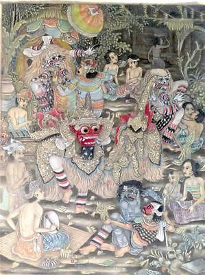Bali Balinese Art Watercolour On Fabric - Barong Dance - Signed By Artist