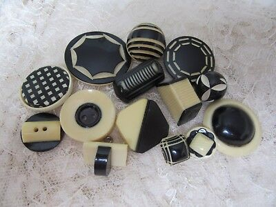 Lot of 14 Cream & Black Art Deco celluloid buttons - great variety !