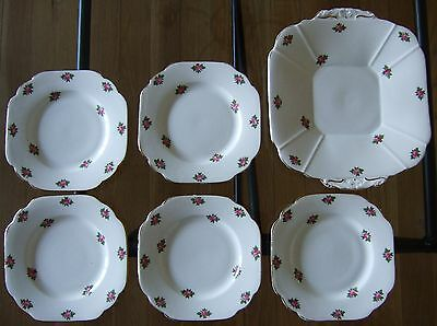 Vintage Melba Bone China 5 x square plates + square serving plate good condition