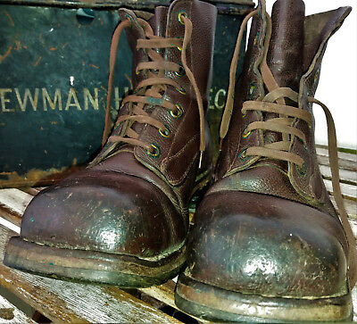 Vintage Swedish army leather field boots Bushcraft size 42(9) Steampunk Goodwood