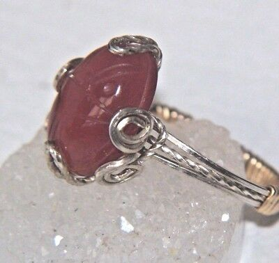 Egyptian SCARAB Ring Carnelian 4.5 ct carved Gem Cab Sterling & 14kgf Gold Sz 6