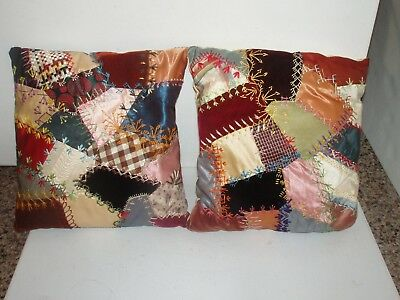 Antique Vintage Hand Made Crazy Quilt Patchwork TWO Pillows Lot #1