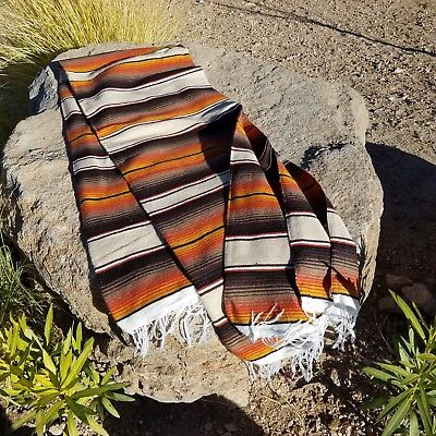"Mexican Saltillo Blanket Festival Serape 82""x 58"" Hand Woven TAN, BROWN, ORANGE"