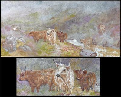 Hand Stitched Artwork Scotland Highland Cattle River Heather Embroidery Woolwork