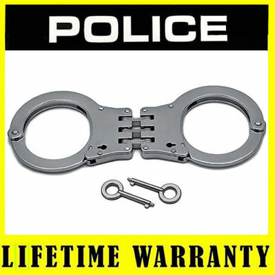 POLICE Handcuffs Metal Professional Heavy Duty Steel Hinged Double Lock - Silver