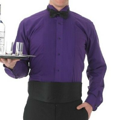 """LARGE Tuxedo Purple Shirt With Wing Tip Collar & Studs NEW Neck 16"""" - 16-1/2"""""""