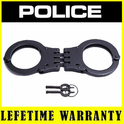 POLICE Handcuffs Metal Professional Heavy Duty Steel Hinged Double Lock - Black