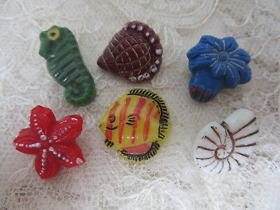 Vintage Realistic Glass buttons - Under the Sea creatures..star fish, nautilus..