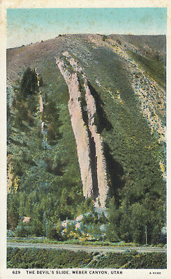 DB OLD Postcard B193 The Devils Slide Weber Canyon Utah AS IS Foxing at Top