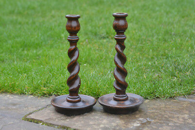pair of old wooden candlesticks candlestick stick candle holders - FREE POSTAGE
