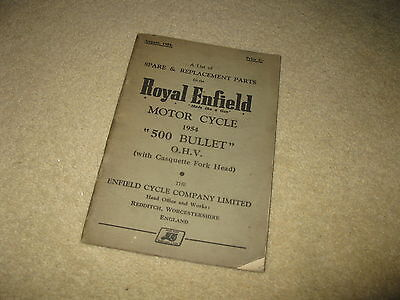 Royal Enfield Motorcycle Spare & Replacement Parts List - 500 Bullet OHV