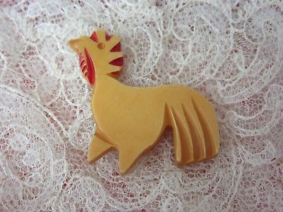 Vintage Realistic Rooster Bakelite Button - Large - painted features