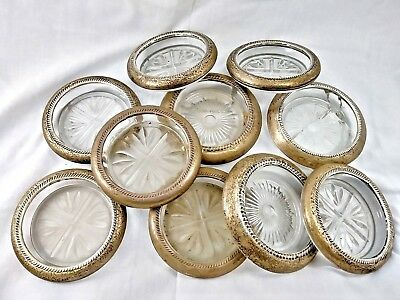VINTAGE FRANK WHITING STERLING SILVER Lot of 10 REPOUSSE GLASS COASTERS