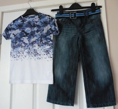 PAIR OF BOYS JEANS by DUCK & DODGE + TOP by RIVER ISLAND  AGE 5 - 6 YEARS