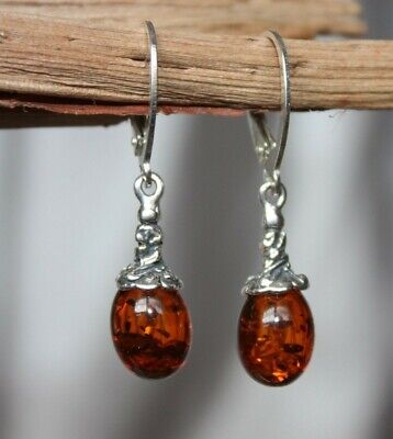 UNIQUE COGNAC BALTIC AMBER EARRINGS 925 STERLING SILVER - Pendant available