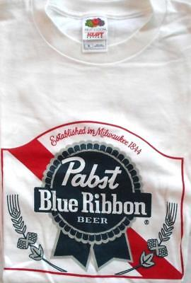 Pabst Blue Ribbon PBR Mens Small Logo T- shirt Red White Blue RARE Tee New