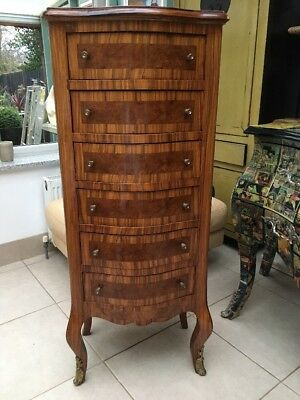 French Louis Style Chest of Drawers with Serpentine Front and Gilt Finish