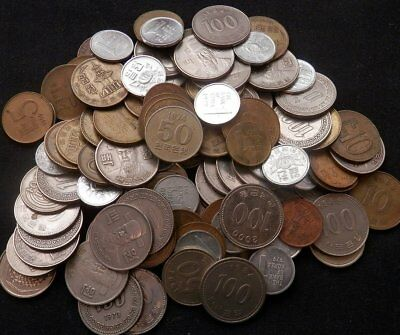 Korea-South, A Pile Of Close To 1 Lb Of Old And New Coins With An Old Banknote