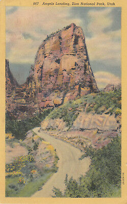 Vintage Linen Postcard B206 1943 Cancel Angels Landing Zion National Park UTAH