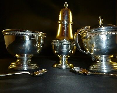 Solid Silver Condiment Set in Original Fitted Box, Birmingham 1934
