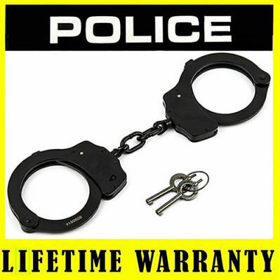 Handcuffs POLICE Metal Professional Heavy Duty Double Locked - Black