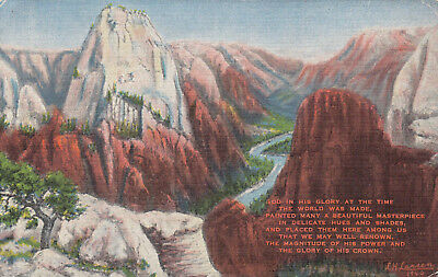 Linen Postcard B213 Zion National Park From an Oil Painting by L. H. Dude UTAH