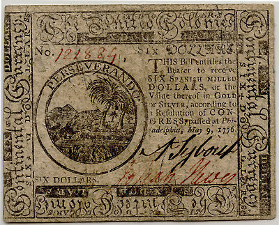May 9, 1776 $6 Six Dollars Continental Colonial Currency Note Xf Cc-36