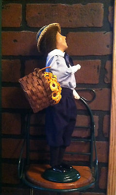 Byers Choice Caroler Woman with Basket of Sunflowers Blue Knickers 2000