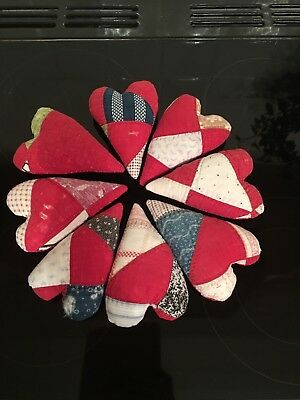 American Folk Art Heart Made From Vintage American Quilt