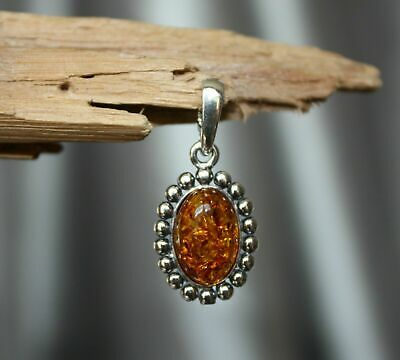Cognac Baltic Amber Pendant 925 Sterling Silver Pendant - Earring Available