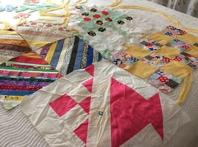 Lot of 7 ORPHAN Quilt Blocks ~ String Pieced Strips Hexagon Tree Basket 9 Patch