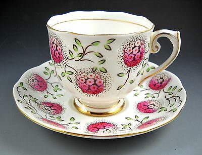 ROSLYN Tea Cup and Saucer Vintage Pink Hydrangea Green Leaves and Gold Accented