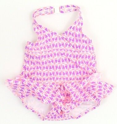 Carter's Baby Girls Swimsuit SIZE 6-9 Months One Piece White Pink Purple