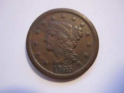 1845 Braided Hair Large Cent, Decent Brown, Detail, Early Us Copper, Free Ship