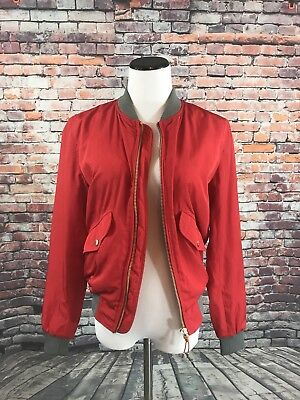 Denim Couture ZARA MAN - SMALL Red Zip Jacket with Gray Trim - Snap Pockets