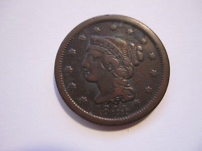 1844 Braided Hair Large Cent, Decent Brown, Detail, Early Us Copper, Free Ship