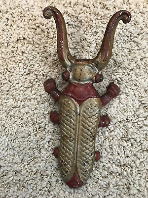 Vintage Painted Cast Iron Beetle cricket Boot Jack Shoe Remover green eyes