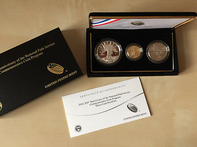USA 2016 100th Anniversary National Parks 3-Coin Proof Set